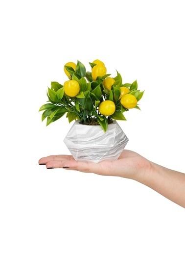 Çiçekmisin Mermer Görünümlü Saksıda Yapay Limon Renkli